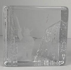 Paperweight-Crystal Ice Block-Signed by Bengt Edenfalk for Skruf Glass, Sweden