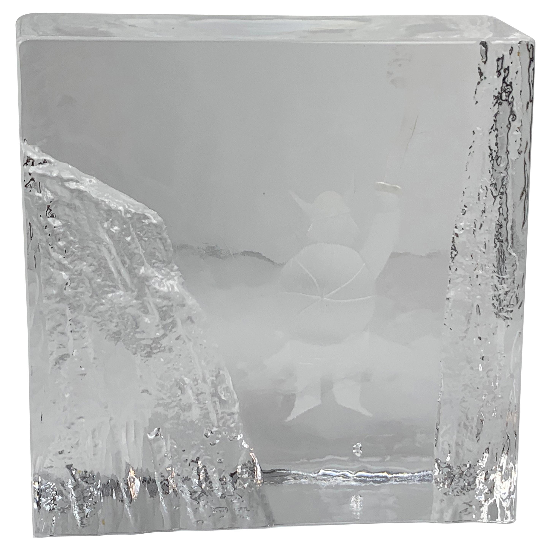 Ice Block Crystal Paperweight-Signed by Bengt Edenfalk for Skruf Glass, Sweden