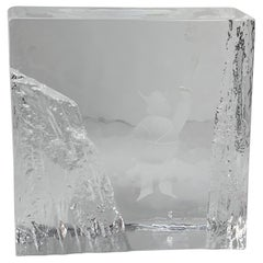 Crystal Paperweight-Ice Block Signed by Bengt Edenfalk for Skruf Glass, Sweden