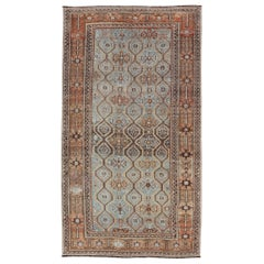 Ice Blue and Coper Color Antique Persian Kurdish Runner with All-Over Tribal