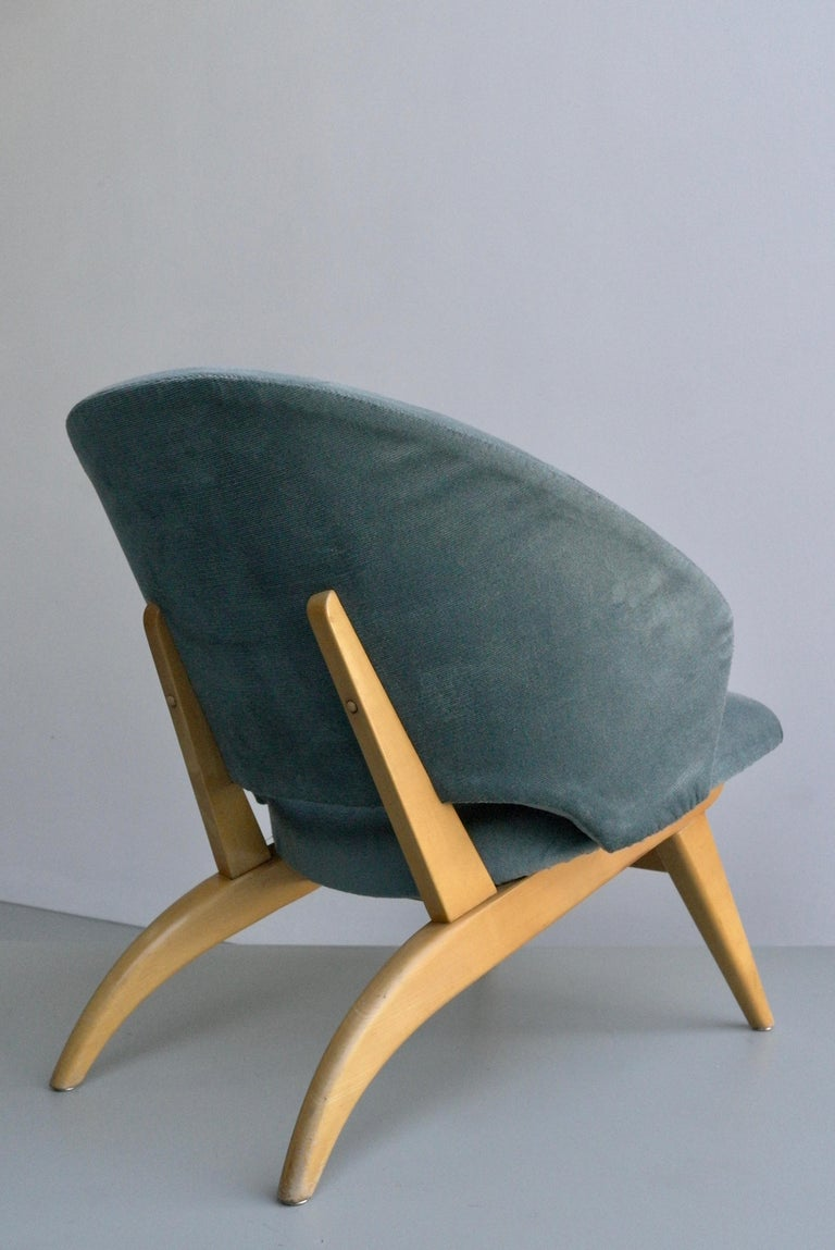 Dutch Ice Blue Lounge Chair by Theo Ruth for Artifort, Netherlands, 1950s For Sale