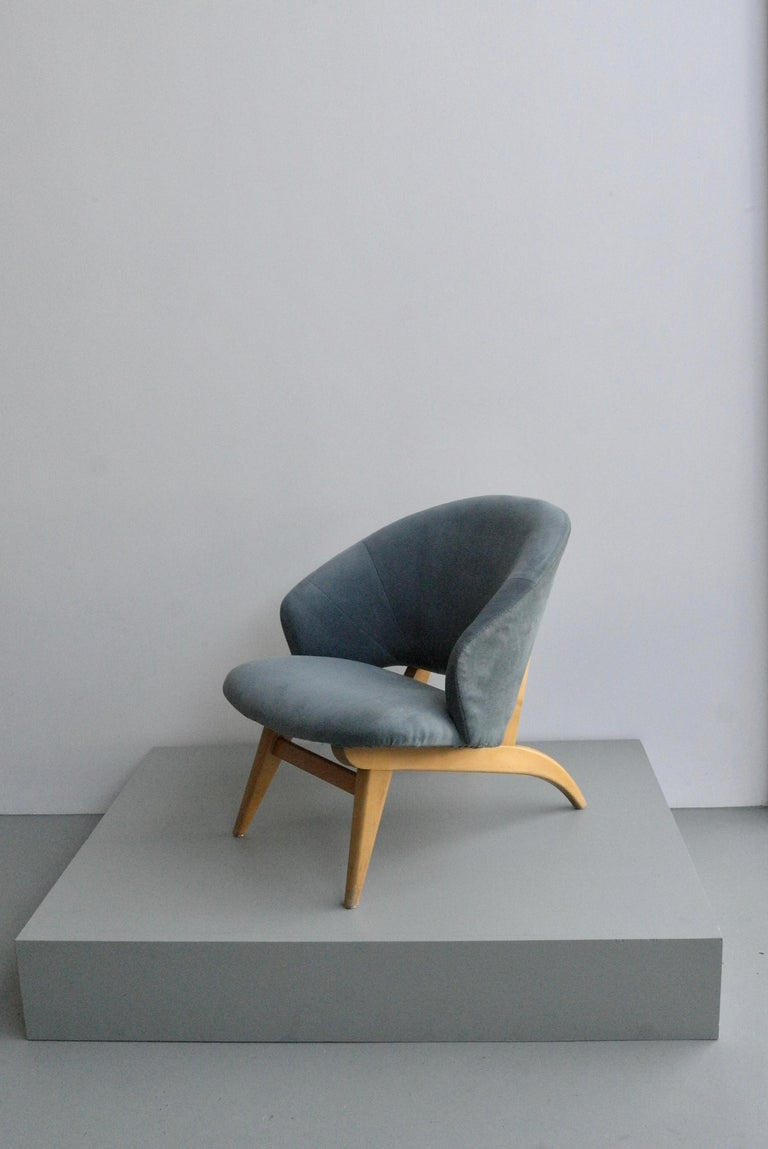 Bentwood Ice Blue Lounge Chair by Theo Ruth for Artifort, Netherlands, 1950s For Sale