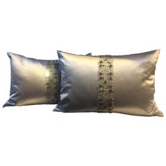 Ice Blue Silk Cushions Hand Embroidery with Band Detail in Swarovski Crystals