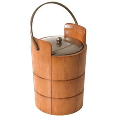 Ice Bucket for Macabo in Carved Wood and Metal, Italy 1950s by Aldo Tura
