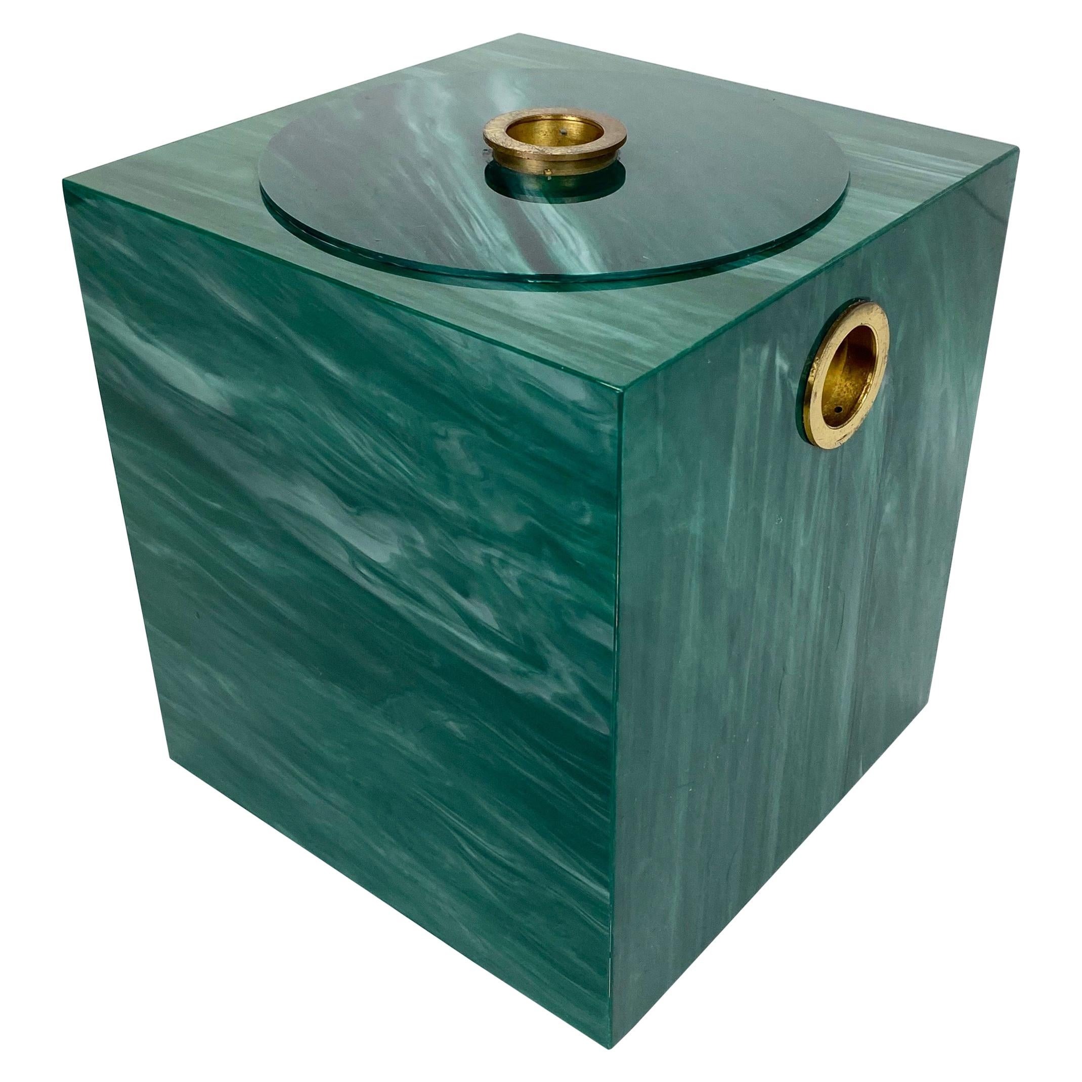 Ice Bucket Green Marble Effect and Brass, Italy, 1970s