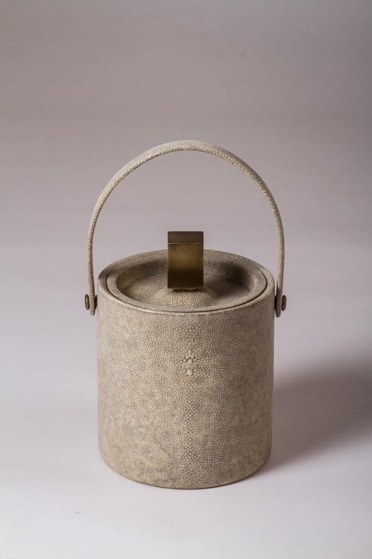 Art Deco Ice Bucket in Ivory Shagreen Bronze Patina Brass by Kifu, Paris For Sale