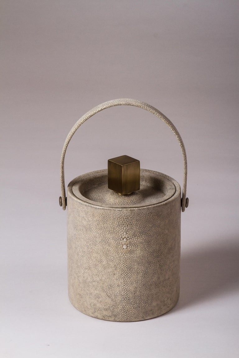 French Ice Bucket in Ivory Shagreen Bronze Patina Brass by Kifu, Paris For Sale