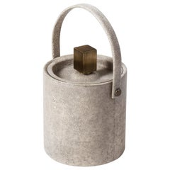 Ice Bucket in Ivory Shagreen Bronze Patina Brass by Kifu, Paris