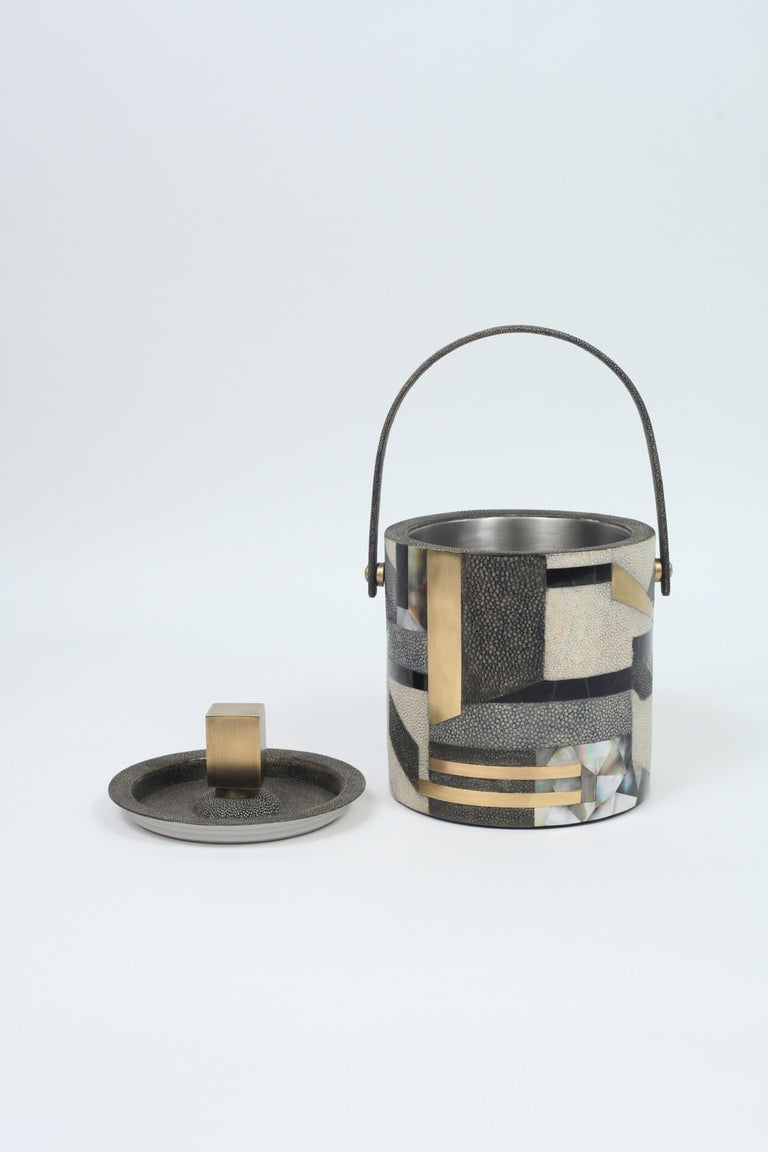 Art Deco Ice Bucket in Shagreen, Shell and Bronze Patina Brass by Kifu Paris For Sale