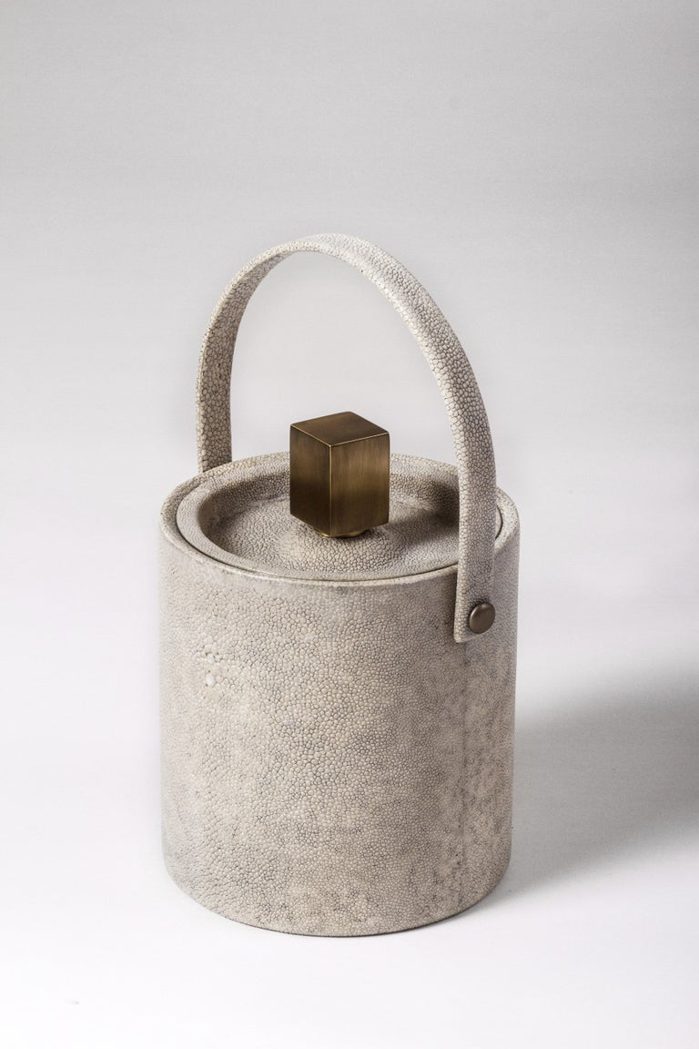 French Ice Bucket in Shagreen, Shell and Bronze Patina Brass by Kifu Paris For Sale