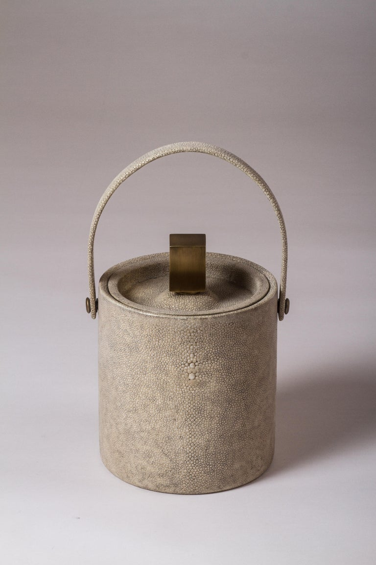 Hand-Crafted Ice Bucket in Shagreen, Shell and Bronze Patina Brass by Kifu Paris For Sale