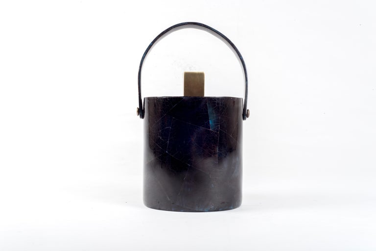 Ice Bucket in Shagreen, Shell and Bronze Patina Brass by Kifu Paris In New Condition For Sale In New York, NY