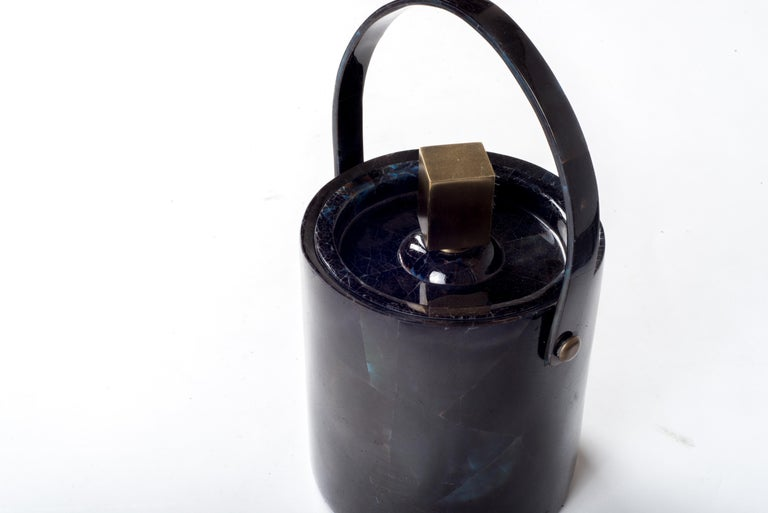 Contemporary Ice Bucket in Shagreen, Shell and Bronze Patina Brass by Kifu Paris For Sale