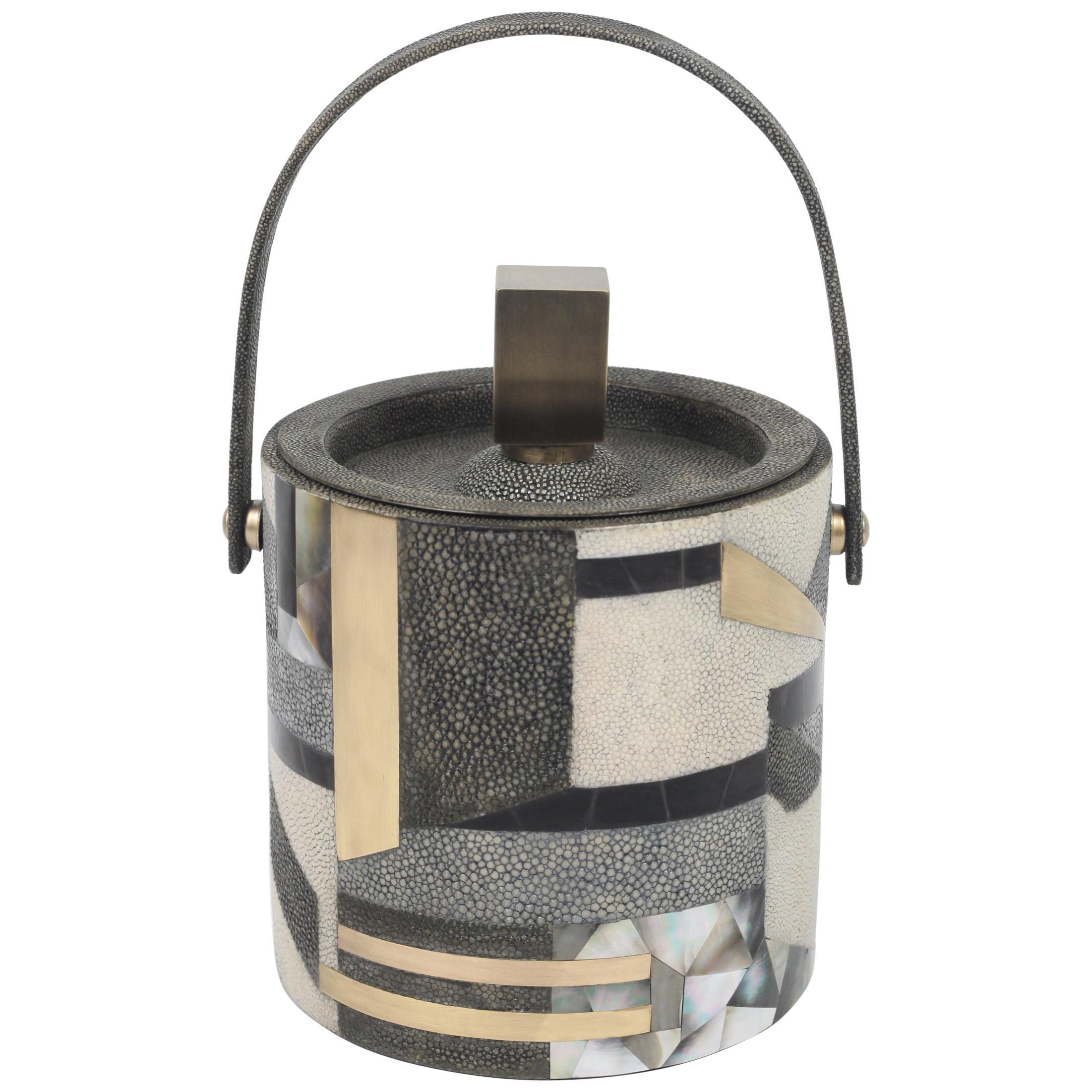 Ice Bucket in Shagreen, Shell and Bronze Patina Brass by Kifu Paris