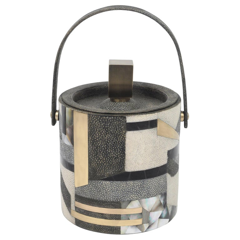 Ice Bucket in Shagreen, Shell and Bronze Patina Brass by Kifu Paris For Sale