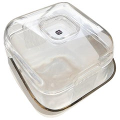 Ice Bucket Lucite with Shell & Fitted Lid, Chrome Plate Handle and Lucite Lining