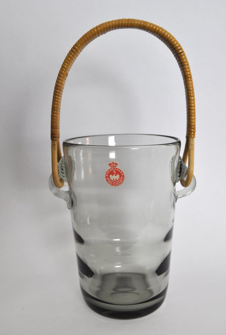 Ice Bucket with Cane Handle Designed by Jacob E. Bang for Holmegaard, 1937 In Good Condition For Sale In Vordingborg, DK