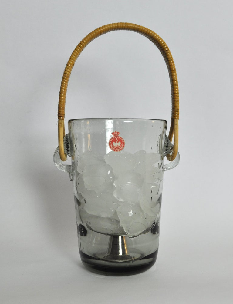 Glass Ice Bucket with Cane Handle Designed by Jacob E. Bang for Holmegaard, 1937 For Sale