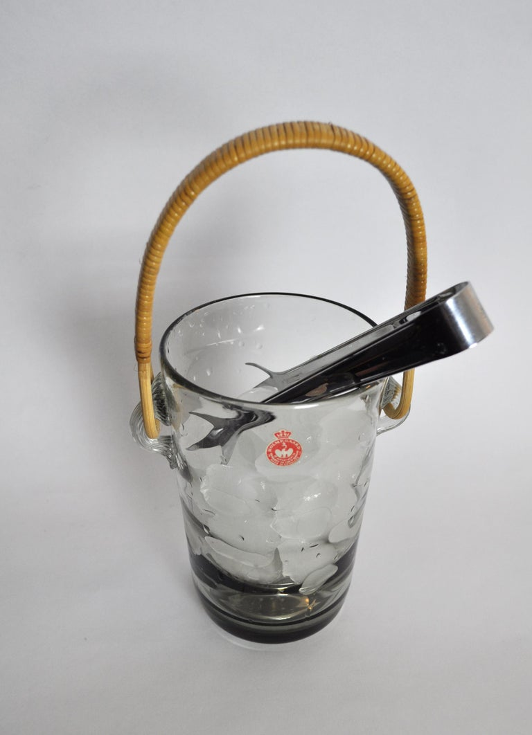 Ice Bucket with Cane Handle Designed by Jacob E. Bang for Holmegaard, 1937 For Sale 1