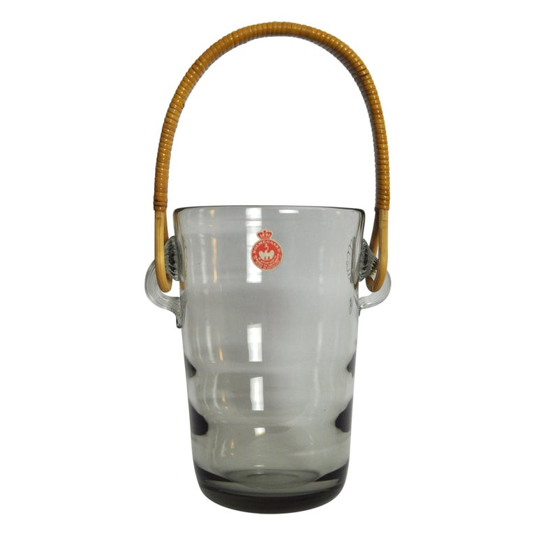 Ice Bucket with Cane Handle Designed by Jacob E. Bang for Holmegaard, 1937 For Sale