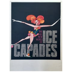 Ice Capades Entertainment Show Original Vintage Ice Skating Poster, 1969