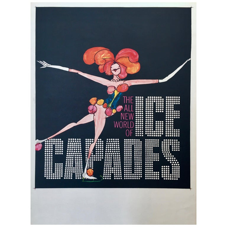 Ice Capades Entertainment Show Original Vintage Ice Skating Poster, 1969 For Sale