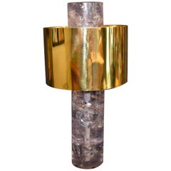 Ice Cracked Resin with Brass Shade Table Lamp