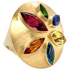 Georg Spreng - Ice Cream Cone Ring 18K Yellow Gold Marquise Natural Gemstones