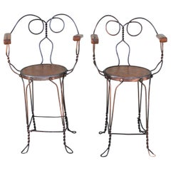 Ice Cream Parlor Armchairs, Industrial Look, Pair