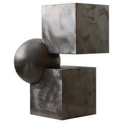'Ice Cube' Futuristic Sidetable in Brushed Steel