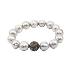Ice Diamonds Pave, Pearls and Silver Clasp