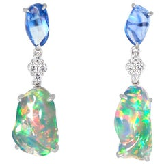 Ice Drops Blue Sapphire Clear Fire Opal and Diamond Earrings