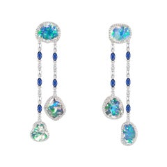 Ice Drops Clear Fire Opal Blue Sapphire and Diamond Earrings