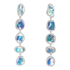 Ice Drops Linear Clear Fire Opal and Diamond Earrings
