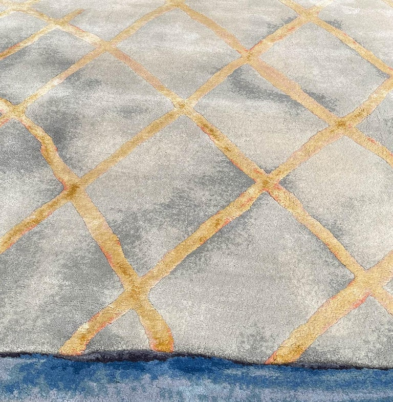 Modern Ice - Geometric Unusual Hand Knotted Wool Silk Rug For Sale