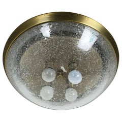 Ice Glass Bubble Brass Wall Ceiling Light by Hillebrand Leuchten, Germany, 1970s