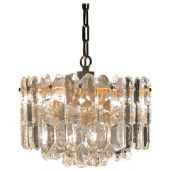 "Ice Glass Chandelier ""Palazzo"" by J.T.Kalmar, Gilt Brass and Glass, circa 1970s"