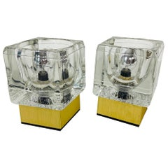 Ice Glass Cube Table Lamps with Brass Base by Peill & Putzler, 1970s, Set