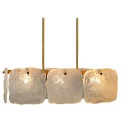 Ice Glass Pendant Light/Chandelier from J. T. Kalmar, Austria, 1960s