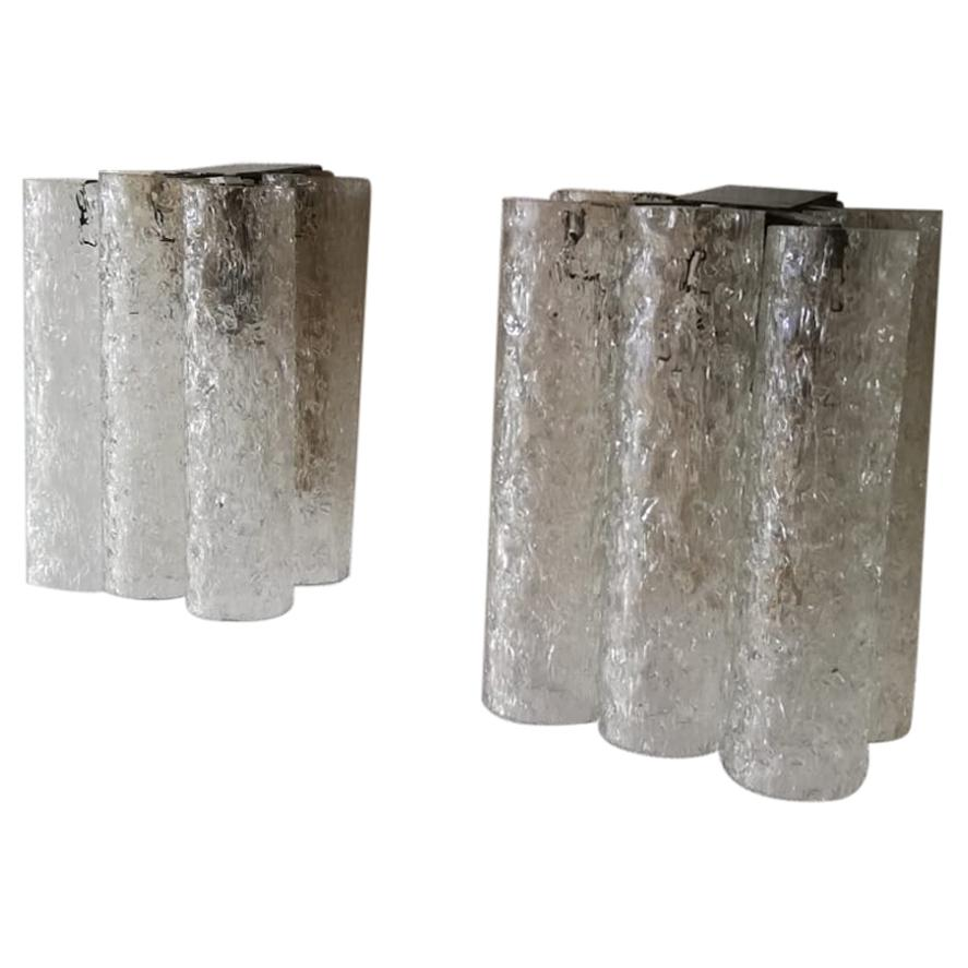 Ice Glass Tubes Pair of Sconces by Doria Leuchten, 1960s Germany