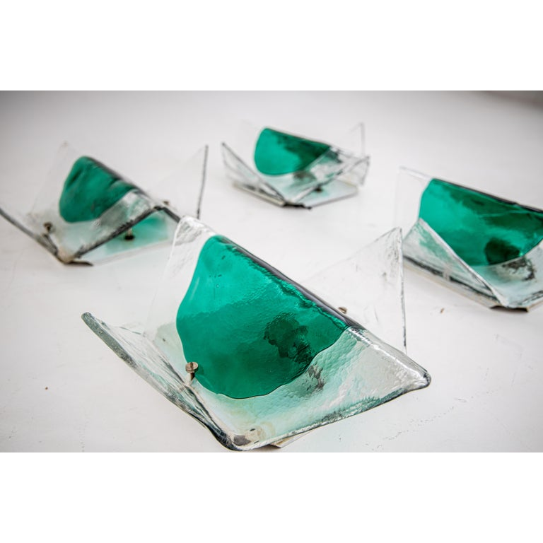 Ice Glass Wall Sconces by Carlo Nason for Mazzega, Italy, 1970s In Good Condition For Sale In Greding, DE