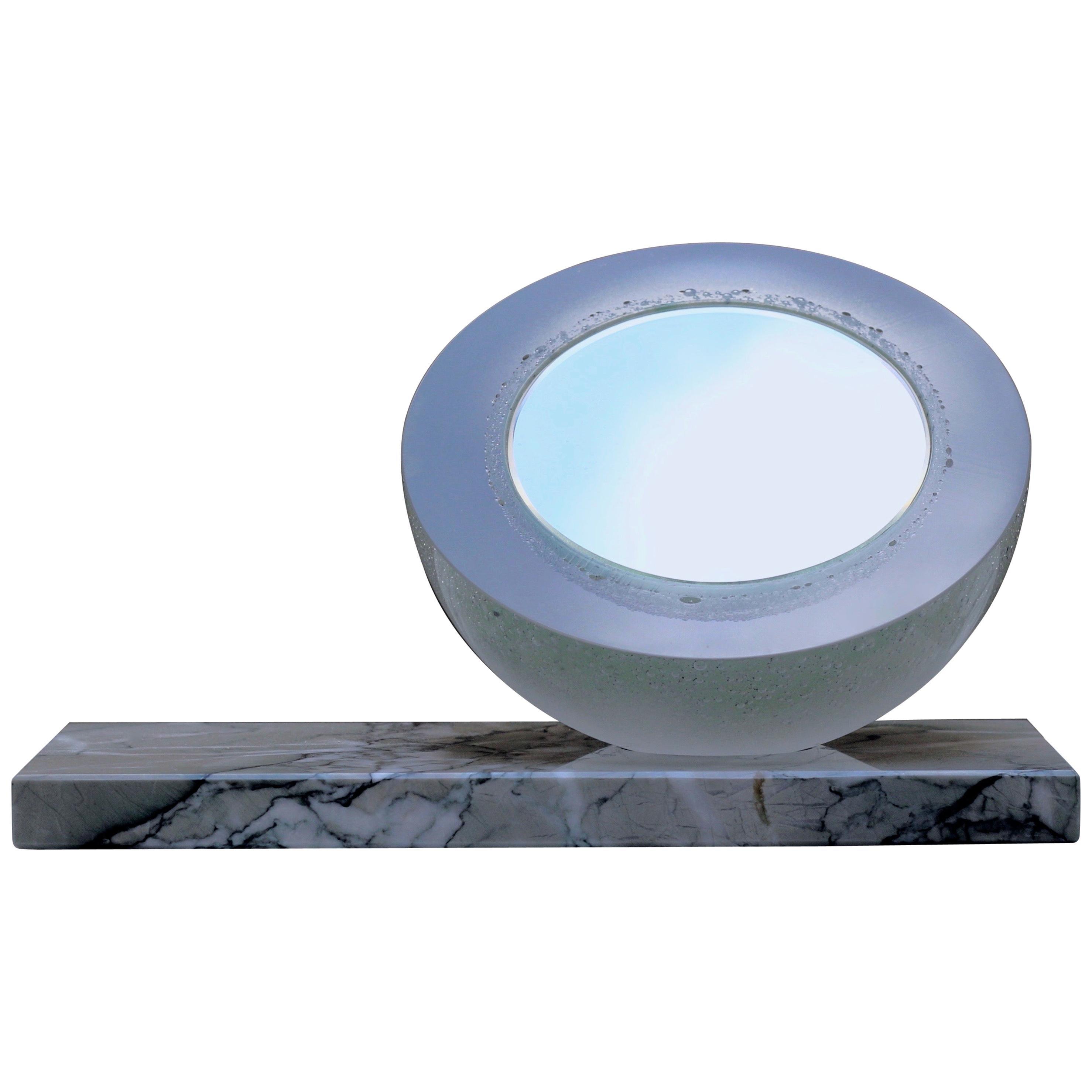 'Ice Queen' Vanity Mirror in Mint Matt Green Glass on Marble