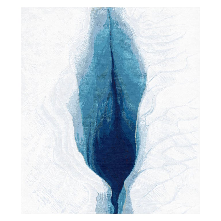 Iceberg Hand-Knotted Wool and Silk 2.5 x 3.0m Rug For Sale