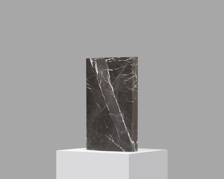 Doric marble table lamp by Carlos Aucejo Dimensions: 44 x 25.5 x 9 cm  (Exists also in large version 58 x 33.6 x 11.8 cm)  Materials: Pietra Grey Marble  Iceberg It is a functional sculpture made with Pietra Grey (Iranian marble). The piece is