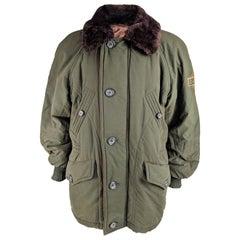 Iceberg Mens Vintage Green Quilted & Faux Fur Parka Coat