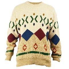 Iceberg Men's Vintage Pure Wool Geometric Patterned Knit Jumper, 1990s