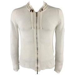 ICEBERG Size L White Knitted Linen / Cotton Drawstring Zip Up Jacket