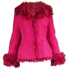 Iceberg Vintage Curly Shearling Sheepskin Fuchsia Pink Bomber Jacket, 1990s
