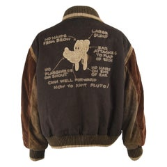 Iceberg Vintage Mens Brown Wool & Sheep Suede 'How to Knit Pluto' Varsity Jacket