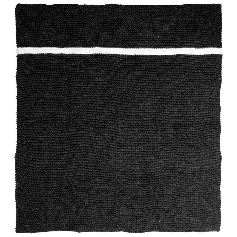 Icelandic Pure New Wool Blanket Krafla Hand Knitted For Sale